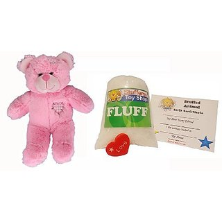 Make Your Own Stuffed Animal Mini 8 Inch Pink Heart Patch Bear Kit - No Sewing Required!