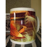 Ceramic Coffee Mug - Yellow, Brown And Orange