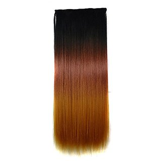 Abwin 22 Inch Black to Dark Red to Light Yellow Clip in Hair Extension