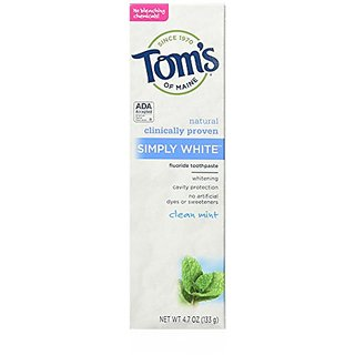 Toms of Maine Simply White Natural Toothpaste, Clean Mint, 6 Count