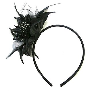 Black Polka Dot Feather Net Big Lily Flower Band Fascinator