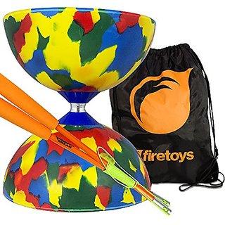 Jester Medium Diabolo 4 Colour with Orange Superglass Diabolo Sticks, String & Firetoys Bag