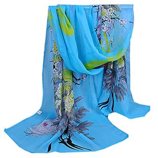 Mothers Day Gift Vogue Sky Blue Peacock Printing Chiffon Scarf, BEAUTY wardrobe