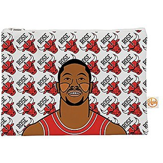 Kess InHouse Derrick Rose Everything Bag Flat Pouch by Will Wild, 8.5 x 6 Inches, Basketball (WW1004AEP01)