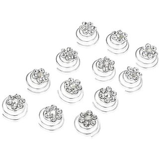 Rhinestone Flower Bridal Wedding Hair Twisters (Pack of 12)