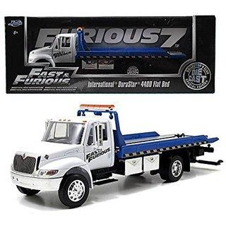 New 1:24 W B Fast & Furious 7 International Durastar 4400 Flat Bed Tow Truck Diecast Model Car By Jada Toys