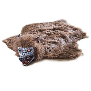 Animated Lifelike Werewolf Rug for Halloween - Howls and Eyes Glow Red When You Step on its fur