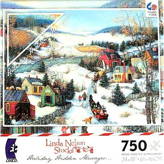 Linda Nelson Stocks Holiday Hidden Messages Puzzle FAITH PEACE LOVE FAMILY GLORY 750 PIECE Puzzle MADE IN USA PUZZLE