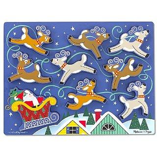 Melissa & Doug Santas Sleigh Wooden Chunky Puzzle (9 pcs)