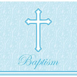 Creative Converting 18 Count Baptism Lunch Napkins, Faith Blue