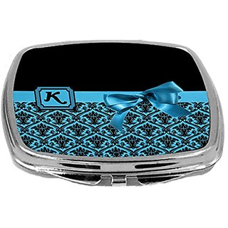 Rikki Knight Letter-K Monogram Damask Bow Design Compact Mirror, Sky Blue, 2 Ounce
