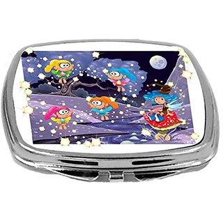 Rikki Knight Compact Mirror, Starry Fairies Cartoon Style