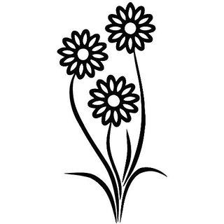 Sunflower Double - Plant Decal [12cm Black] Vinyl Sticker for Car, Ipad, Laptop, Helmet