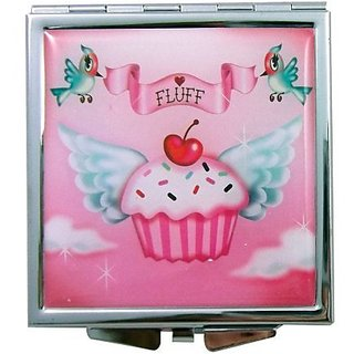 Fluff Cupcake Heaven - Cupcake Love Square Metal Compact Mirror