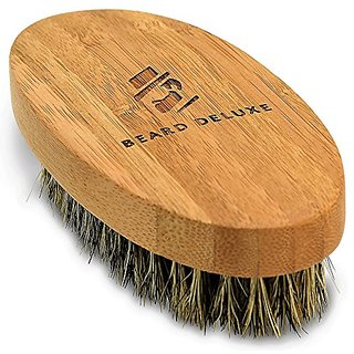 Beard Deluxe - Beard Brush For Men - Best Facial & Scalp Hair Comb - Natural Bamboo, Ergonomic Handle & 100% Boar Bristl