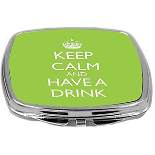 Rikki Knight Compact Mirror, Keep Calm and Have a Drink, Lime Green