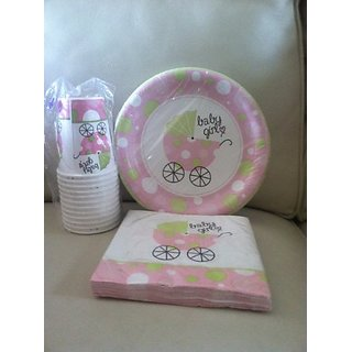 Baby Carriage Girl Party Pack Plates, Cups and Napkins