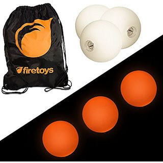 Glow Juggling Ball Set - 3x Orange LED Juggling Balls & Firetoys Bag
