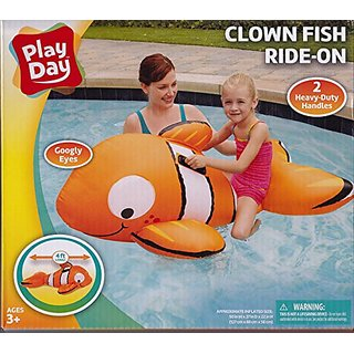 Inflatable 4 ft. Long Clown Fish Ride-On Float with Googly Eyes