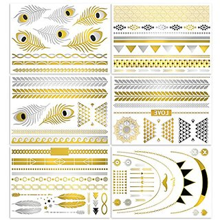 V.T Metallic Tattoos (HUGE 6 SHEETS PACK) - MOST POPULAR DESIGNS (more than 50 tattoos!) - Gold Silver & Black Body