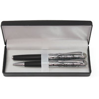 P-59 Black With Vintage Silver Trim Roller Pen And Ball Point Pen Set