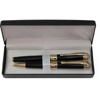P-60 Black With Golden Trim Roller Pen And Ball Point Pen Set