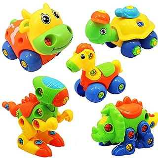 5pcs-Lot Take Apart Assemble Animals with Screwdrivers for Baby (Cow+Horse+Stegosaurus+Tortoise+Tyrannosaurus)