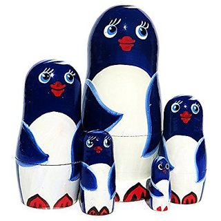 Penguins 5-Piece Blue Russian Nesting Doll Matryoshka Stacking Dolls