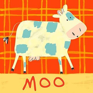 Oopsy daisy cow says moo stretched canvas wall art by amy schimler, 10 by 10-inch