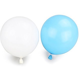 Tinksky Party Balloons Latex Balloons Metallic Balloons 50-Pack (White and Light Blue)