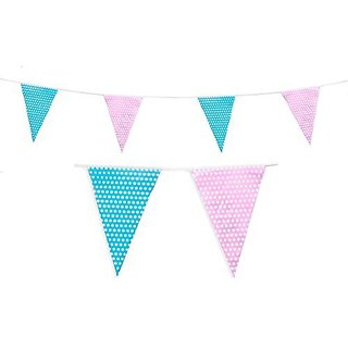 Pale Pink and Baby Blue Polka Dot Banner Pennant Flags for Baby Shower Party (C1009)