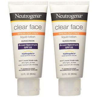 Neutrogena Clear Face Break Out Free Liquid Lotion Sunscreen SPF 55 - 3 oz (Pack of 2)