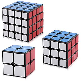 D-FantiX Yj Speed Cube Bundle Set of Guanpo 2x2 Guanlong 3x3 Guansu 4x4 Magic Cube Puzzles Black