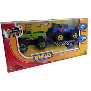 New Bright Wheels 57 Chevy and Silverado 4xFours Battery Operated Trucks and Trailer