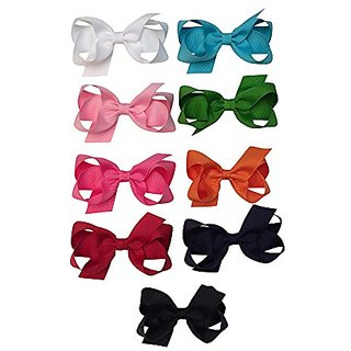 Bows for Belles Boutique X-Small Bow Set (9 Bows - Pink, White, Red, Orange, Turquoise, Apple, Hot Pink, Black, Navy) Ma