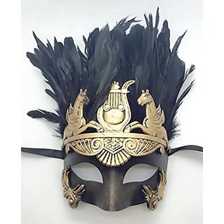 Mens Roman Gold Masquerade Mask with Feathers