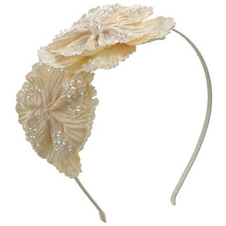 Beautiful Beaded Double Flower Headband (Off White)