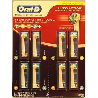 Oral-B Floss Action 8 Pack Replacement Brush Heads