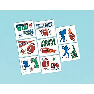 Amscan Football Frenzy Birthday Party Tattoo (16 Pack), Multi Color, 9.2 x 4.2
