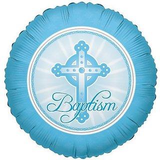 Baptism Mylar Balloon Blue Cross 18