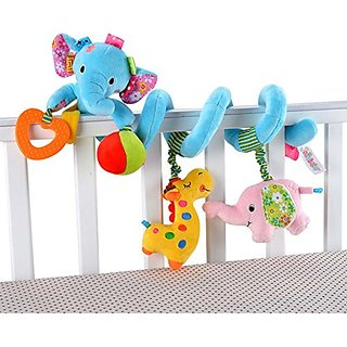 Singring Baby Pram Crib Cute Blue Elephant Design Activity Spiral Plush Toys Stroller and Travel Activity Toy