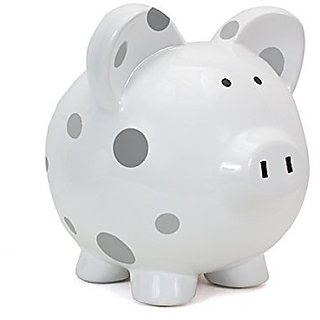 Child to Cherish Large Pig White with Polka Dot Toy Bank, Grey