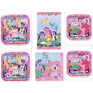 My Little Pony Dinner Plates, Dessert Plates, Napkins and Table cover Party Pack for 16 Guests