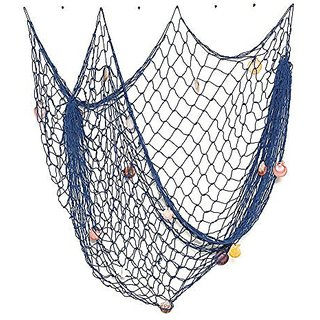 Jnndpay Home Decoration Mediterranean Style Decorative Fish Net With Shells 1.52m Blue