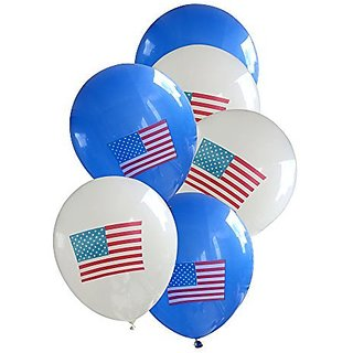 Qishis Balloons-childrens Party-large Balloons-size:15White&blue with American Flag Balloons 100pcs pack