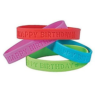 24 ~ Happy Birthday Rubber Bracelets ~ 7.5