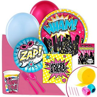 Superhero Girl Party Supplies - Value Party Pack