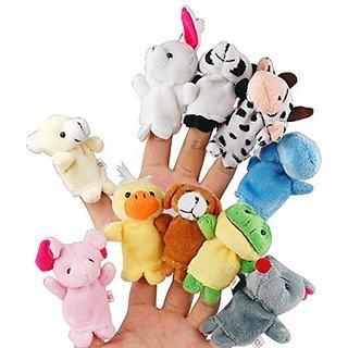 EchoAcc 10pcs Different Cartoon Animal Finger Puppets Soft Velvet Dolls Props Toys