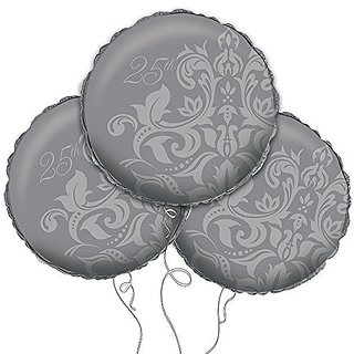 Silver 25th Anniversary Mylar Balloon 18