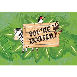Creative Converting BB895520 Wild Safari Invitations -8 Pack
